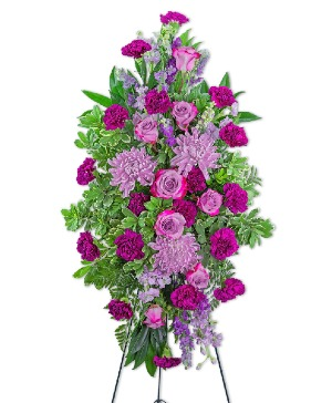 Gracefully Majestic Standing Spray Sympathy in Nevada, IA | Flower Bed