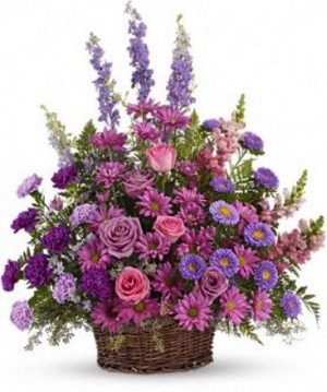Gracious Lavender Basket Funeral Arrangement in Lauderhill, FL | A ROYAL BLOOM FLOWERS & GIFTS