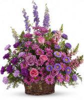 Gracious Lavender Basket Funeral