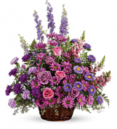 Gracious Lavender Basket       T235-1 Fresh Flower Basket Arrangement