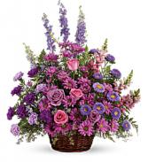 Gracious Lavender Basket       T235-1 Fresh Flower Basket Arrangement