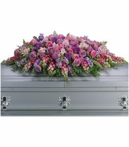 Gracious Lavender Casket Blanket Arrangement