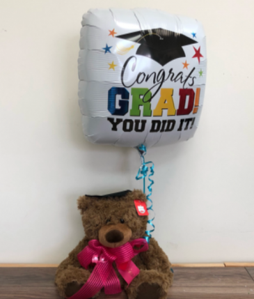 Grad bear and balloon K grad 2019 ribbon