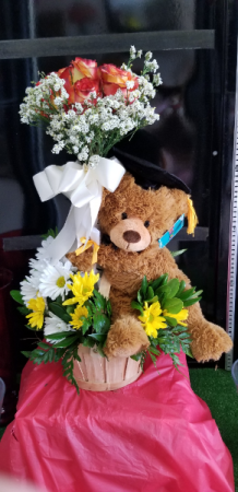 Graduation Basket Celebration  FLOWERS and Graduation Bear