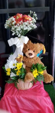 Graduation Basket Celebration  FLOWERS and Graduation Bear