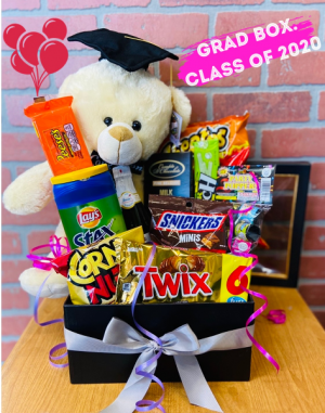 Graduation Box of Treats and Bear BEST SELLER in Whittier, CA | Rosemantico Flowers