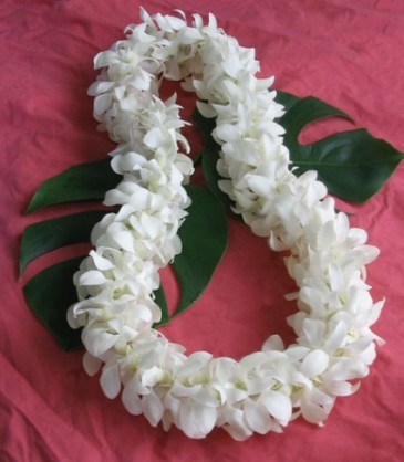 Graduation or wedding lei 36 40 double white orchid lei in graduation or wedding lei 36 mightylinksfo