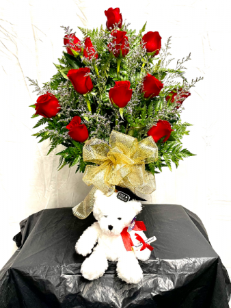 Graduation Roses With Bear Flower