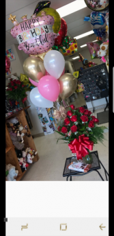 Grand Slam Happy Birthday BEAUTIFUL Celebration Roses Balloons and Chocolates