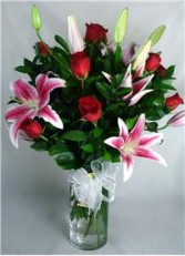 Grand Spectacle-Dozen Long Stem Roses with Lilies