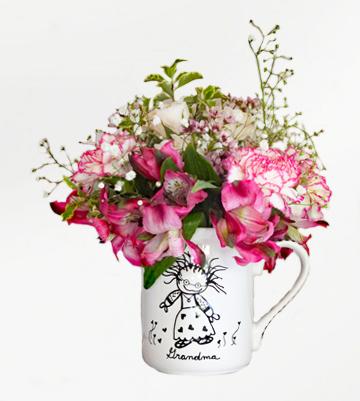 Grandma Freshcut Flowers in a 16oz mug...