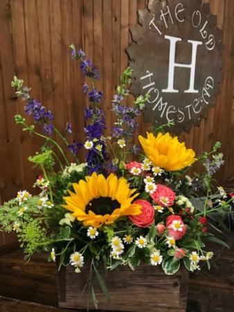Grandpas Flower Box Fresh Flower Arrangement