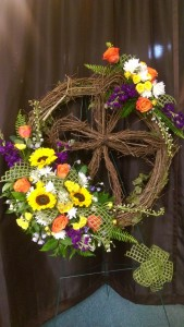 Grapevine wreath and cross