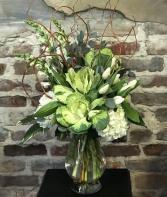 Gratifying Green Bouquet Vased Arrangement