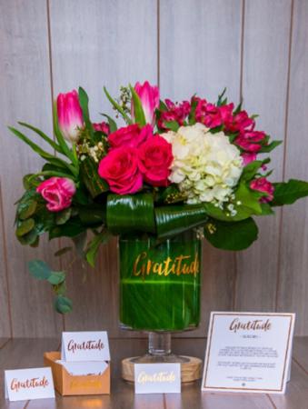 Gratitude Glass Jar & Flowers Gift & Luxurious Fresh Flowers