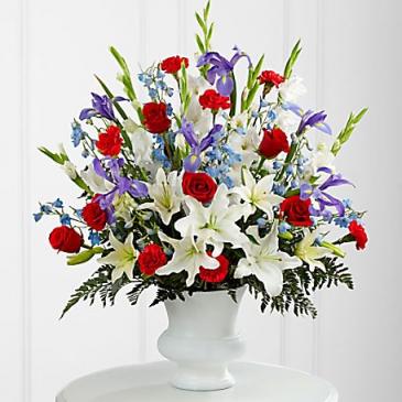 GRATITUTE ARRANGEMENT RED,BLUE AND WHITE SPRAY