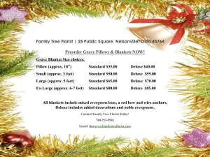 Preorder Grave Pillows and Blankets Holiday in Nelsonville, OH   Family Tree Florist