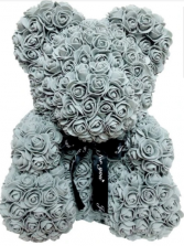 Gray rose bear silk Rose bear silk