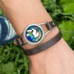 Great Lakes Beach Leather Bracelet Brown and Silver Crystal