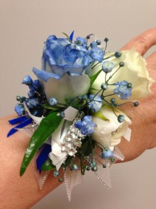 Grecian Blue Wrist Corsage