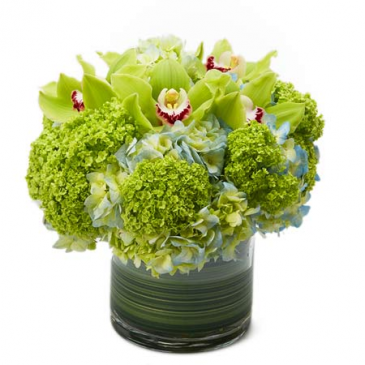 green and blue low glass centerpiece