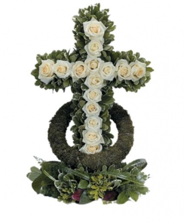 Green and White Cross Cross Funeral