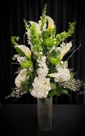 Green and White Delight Tall Vase Arrangement
