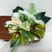 Green and White jazz wrist corsage