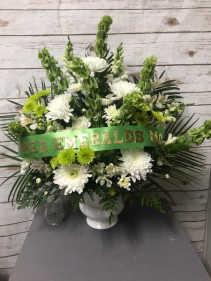Green and White Urn  Arrangement