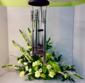 Green and White Wind Chime Arrangement