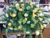 Green and yellows Casket Spray