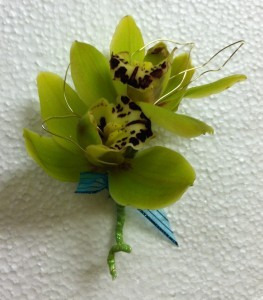 Green Cimbidium Orchid  boutoniere