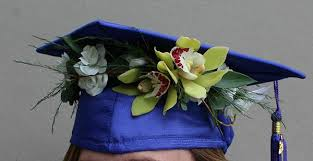GREEN CYMBIDIUM ORCHID CAP PIECE GRADUATION CAP/HEADPIECE