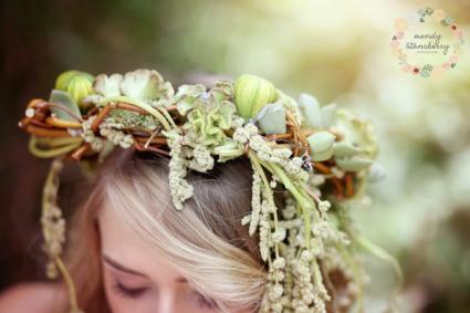 Green Garden Floral Crown  Flower Crowns