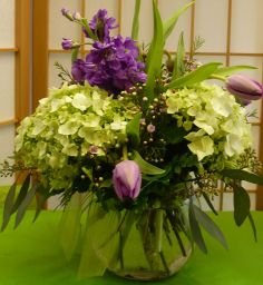 Green Godess cut flowers in a vase