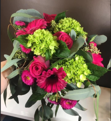 Green Hydrangea and Hot Pink Roses and Gerbs Wedding