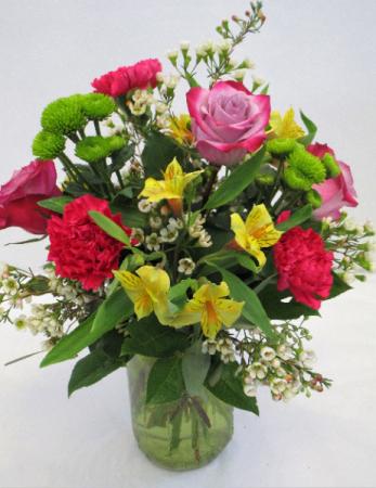 SIMPLY BEAUTIFUL (IN CLEAR VASE) FRESH FLOWERS VASED