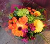 Green & Orange Hand tied bouquet