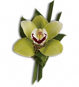 GREEN ORCHID BOUTONNIERE PROM