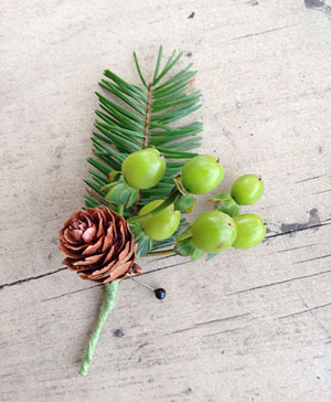Green Pines Boutonniere in Port Stanley, ON | Flowers By Rosita