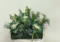 Green plant in chicken wire basket Silk Arrangement