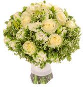 GREEN & WHITE ROSE & TULIP BRIDAL BOUQUET