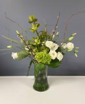 Green & White Vase Arrangement
