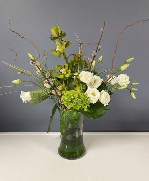 Green & White Vase Arrangement in Hardwick, VT | THE FLOWER BASKET