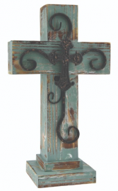 Green Wooden Cross 16 Inch Green Cross