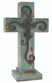Green Wooden Cross 16 Inch Green Cross