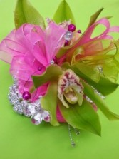 GreenDazzle Green and Hot Pink Cymbidium wrist corsage