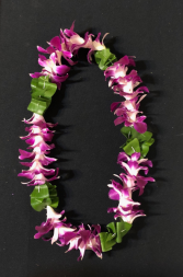 Greenery and Purple Orchid Lei