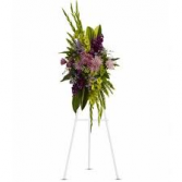 GREEN/PURPLE TROPICAL SPRAY STANDING FUNERAL PC