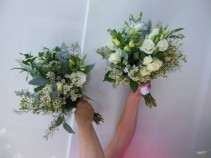 GREENS, ROSES, LISIANTHUS, WAX FLOWER, LISIANTHUS WEDDING BOUQUET